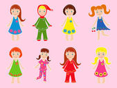 Eight small girls in various garments — Stock Vector