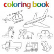Set of various toys for coloring book — Stock Vector