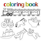 Set of different toys for coloring book — Stock Vector