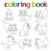 Set of nine playful kittens for coloring book — Stock Vector