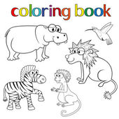 Kit of animals for coloring book — Stock Vector