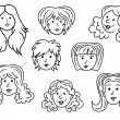 Set of eight cartoon women contour faces — Stock Vector