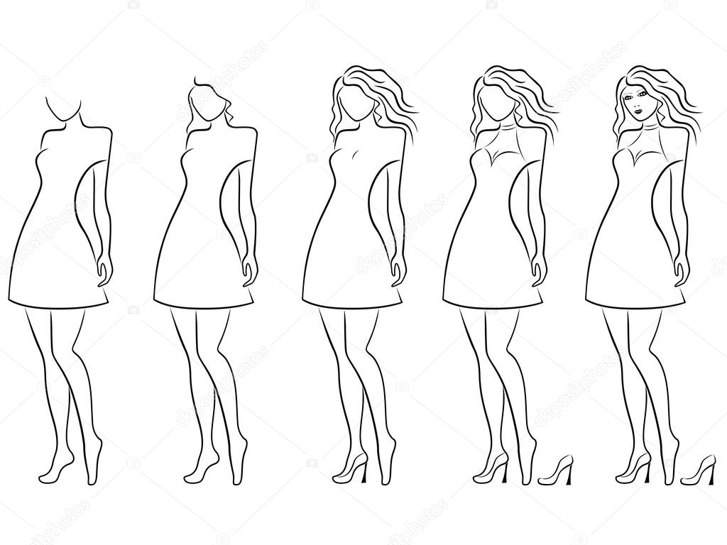 alluring women contour in hand drawing sequence stock vector