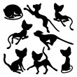 Eight silhouettes of funny cats — Stock Vector #46220147