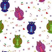 別の様式化されたフクロウとのシームレスなベクトル図 — ストックベクタ