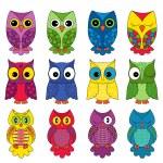 Set of twelve owls — Stock Vector #47381553