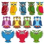 Set of eleven owls — Stock Vector #47493781