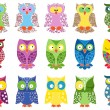 Set of fifteen colourful owls — Stock Vector