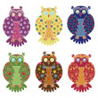 Set of six colourful funny owls over white — Stock Vector