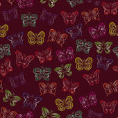 Seamless pattern with gradient butterflies — Stock Vector