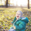 Happy Little Boy Sitting in Autumn Leaves — ストック写真