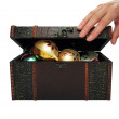 Christmas balls in a treasure chest (with clipping path) — Stock Photo