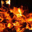 Glowing coals in fireplace — Stock Photo #21684847