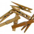 Wooden clothespins on white background — Stock Photo