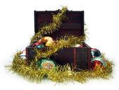 Treasure chest full of Christmas decorations — Stock Photo