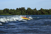 Jet boating adventure on the river — Stock Photo