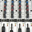 Faders and knobs of sound mixer — Stock Photo