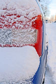 Car bumper covered by snow — Stock Photo