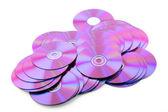 堆的多彩的 dvd 或 cd 在白色背景上 — 图库照片