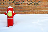Red fire hydrant in winter — Stock Photo