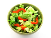 Simple salad in a green bowl — Stock Photo
