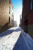 Lumière du soleil après la tempête de neige — Photo
