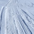 Snowmobile tracks in the snow — Stock Photo