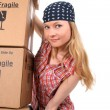 Portrait of a young woman with cardboard boxes — Stock Photo