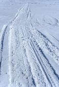 Motoslitta tracce nella neve — Foto Stock