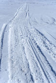 Snowmobile tracks in the snow — Stok fotoğraf