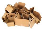 Pile of open cardboard boxes — Stock Photo