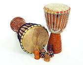 Djembe drums and caxixi shakers — Stock Photo