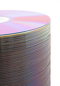 Purple CDs on spindle — Stock Photo