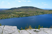 View from the mountain over beautiful lake — Stock Photo