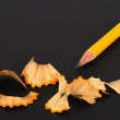 Stock Photo: Sharpened pencil and wooden shavings