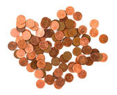 Para. beyaz arka plan üzerinde paralar — Stok fotoğraf