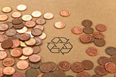 Recycling sign and money — Stok fotoğraf