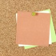 Colorful post-it notes pinned to corkboard — Stock Photo #21971417