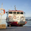 Stock Photo: Lifebuoy and moored ship