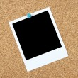 Stock Photo: Blank photo on corkboard