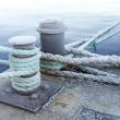 Stock Photo: Bitts and mooring lines