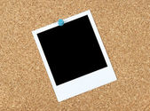 Blank photo on a corkboard — Stock Photo