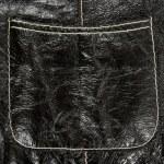 Pocket on black leather clothing — Stock Photo