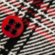 Stock Photo: Red button on checked fabric