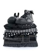 Stylish black clothing and boots — Stock Photo