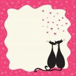 dois gatos no amor em um quadro retrô — Vetorial Stock