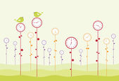 Clock garden — Vector de stock