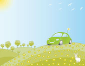 Eco-friendly car in a green field — Stock Vector