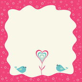 Two birds and heart flower in a retro frame — Stock Vector