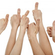 Many hands giving thumbs up — Stock Photo
